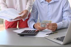 Tax accountants working with documents royalty free stock photo