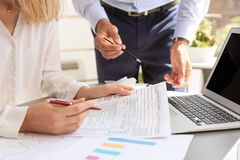 Tax accountants working with documents royalty free stock image