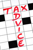 Tax Advice. Write the words Tax Advice in the crossword puzzle Royalty Free Stock Image
