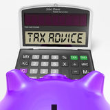 Tax Advice Calculator Shows Assistance With Taxes Royalty Free Stock Images