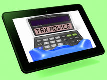 Tax Advice Calculator Tablet Shows Assistance With Taxes Royalty Free Stock Photography