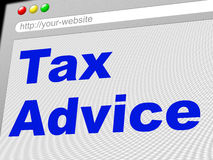 Tax Advice Means Levy Info And Taxation. Tax Advice Showing Advisory Tips And Faq Royalty Free Stock Photography
