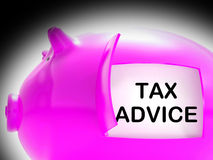 Tax Advice Piggy Bank Message Shows Advising About Taxes Stock Images