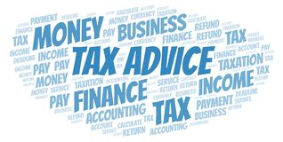 Tax Advice word cloud. Wordcloud made with text only royalty free illustration