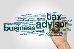 Tax advisor word cloud. Concept on grey background Stock Image