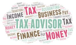 Tax Advisor word cloud. Wordcloud made with text only stock illustration