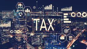 Tax with aerial view of Manhattan, NY Royalty Free Stock Image