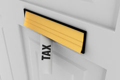 Tax against letter through post box Royalty Free Stock Photography