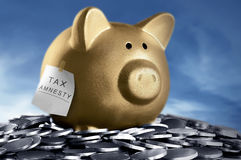 Tax amnesty quote tacked on gold piggy bank Stock Photo