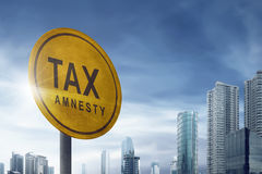 Tax amnesty quotes on the placard signs Royalty Free Stock Photos