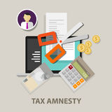 Tax amnesty, scissor illustration, government forgive taxation Royalty Free Stock Image