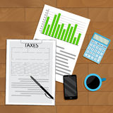 Tax analysis and statistics. View top wooden table, business statistic and accounting finance report, vector illustration Royalty Free Stock Photos