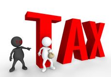 Tax avoidance 3D. Tax avoidance human 3D in white background Royalty Free Stock Images