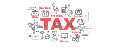 Tax  banner. Design concept, flat style with thin line art icons on white background Stock Photos