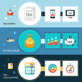 Tax Banner Set. Tax horizontal banner set with forms resources and calculating elements  vector illustration Stock Photography