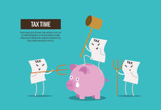 Tax bill hold hammer about to smash piggy bank. Royalty Free Stock Photo