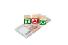 Tax block on money Royalty Free Stock Photo