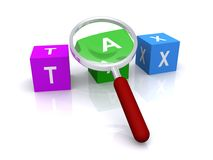 Tax blocks magnified. 3D rendering of colored letter blocks spelling the word tax and a magnifying glass stock illustration