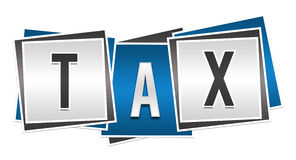 Tax Blue Grey Blocks. Tax text alphabets written over blue grey background Royalty Free Stock Photography
