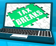 Tax Breaks On Laptop Showing Internet Taxing Stock Images