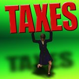 Tax Burden. Taxes weigh heavy on a female figure Stock Photography