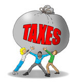 Tax Burden. Image of a group of people being weighed down by too many taxes Royalty Free Stock Images