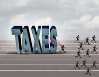 Tax Burden. Business concept as a slow burdened taxpayer pulling a heavy rock shaped as a 3D illustration taxes text as other people run on a path Stock Photos