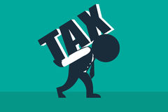 Tax burden.  A stickman look like a businessman carries a load of tax word. Concept business vector illustration Stock Image