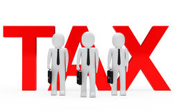 Tax Businessmen. Businessmen team stand for red tax word vector illustration
