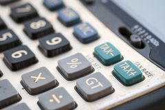 Tax button on calculator, shallow deep of field Royalty Free Stock Photos