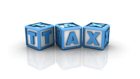 Tax Buzzword. Three dimensional illustration of cubes with word Tax Stock Photography