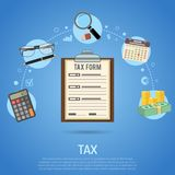 Tax Calculation, Payment, Accounting, Paperwork Concept. Tax calculation, accounting, payment, paperwork concept. Government taxes, financial research, report Royalty Free Stock Photos