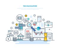 Tax calculation concept. Accounting, financial analysis, accounting, economic business audit. Financial calculations, counting profit, income, taxes data Royalty Free Stock Image