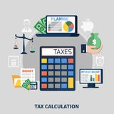 Tax Calculation Flat Composition. With budget planning, financial charts on computer screens on grey background vector illustration Stock Photo