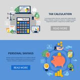 Tax Calculation Horizontal Banners. Flat horizontal banners with tax calculation and personal savings isolated on grey and blue background vector illustration Stock Images