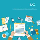 Tax calculation payment concept. Businessman fills the form of taxation. Stock Photo