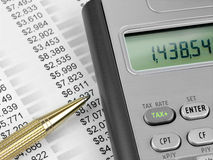 Tax calculator  and pen Royalty Free Stock Photography