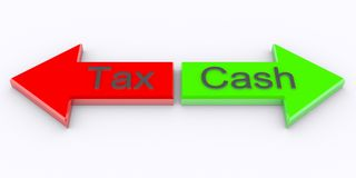 Tax cash. 3d rendered tax cash on arrow stock photography