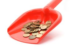 Tax collection. Money and red scoop, collect taxes Stock Photo
