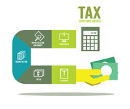 Tax compliance info graphic. Flat design elements. vector illustration Royalty Free Stock Photo