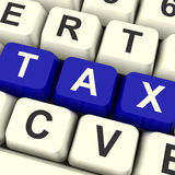 Tax Computer Keys Showing Taxation And Online Payment Stock Photography