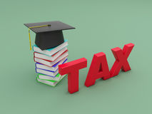 Tax Concept with Books and Cap. Tax Concept with Books - 3D Rendered Image Stock Image