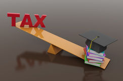 Tax Concept with Books and Cap Stock Photo