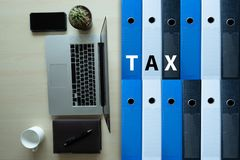Tax Concept Business analyzing Individual income tax return form. Concept royalty free stock photos