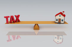Tax Concept with 3d House Model Stock Images