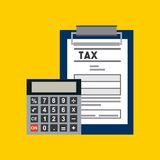 Tax concept design. Report table with tax documents and calculator device icon over yellow background. vector illustration Stock Images