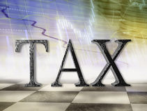 Tax concept. Interest rates and taxes concept with 3d tax text Royalty Free Stock Photos
