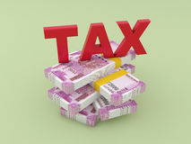 Tax Concept with New Indian Currency. 3D Rendered Image Stock Photos