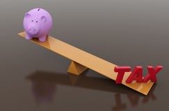 Tax Concept with Piggy Bank. 3D Rendered Image Stock Image