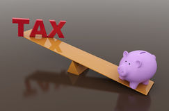Tax Concept with Piggy Bank. 3D Rendered Image Royalty Free Stock Image